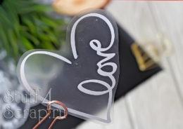Готовая надпись из термотрансферной пленки для скрапбукинга сердце love