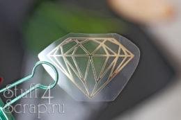 Готовая надпись из термотрансферной пленки для скрапбукинга алмаз бриллиант