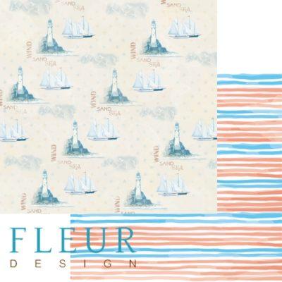 """Лист бумаги """"Круиз"""", коллекция """"Морская прогулка"""" (Fleur design), 30х30 см"""