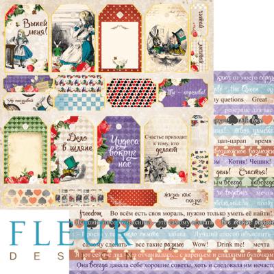 """Лист бумаги """"Теги"""", коллекция """"В стране чудес"""" (Fleur design), 30х30 см"""