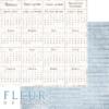 """Лист бумаги """"Календарь"""", коллекция """"Зима винтажная"""" (Fleur design), 30х30 см"""