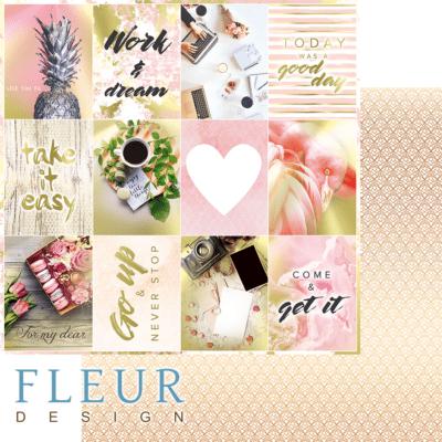 "Лист бумаги ""Карточки"", коллекция ""Pretty pink"" (Fleur design), 30х30 см"