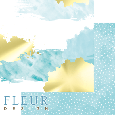 """Лист бумаги """"Акварель в тиффани"""", коллекция """"Pretty tiffany"""" (Fleur design), 30х30 см"""