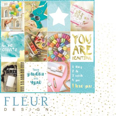 """Лист бумаги """"Карточки"""", коллекция """"Pretty tiffany"""" (Fleur design), 30х30 см"""