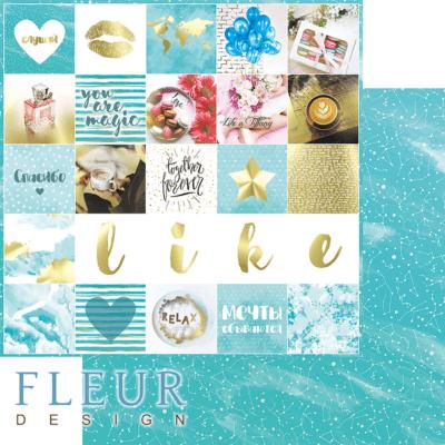 """Лист бумаги """"Надписи"""", коллекция """"Pretty tiffany"""" (Fleur design), 30х30 см"""