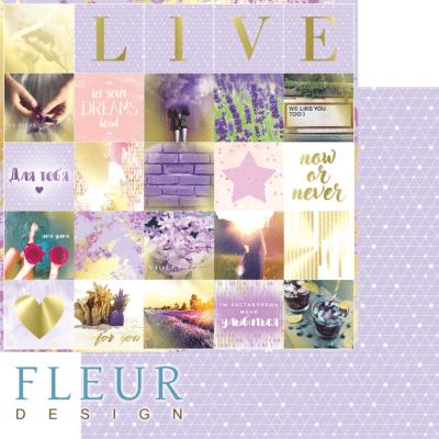 """Лист бумаги """"Надписи"""", коллекция """"Pretty violet"""" (Fleur design), 30х30 см"""