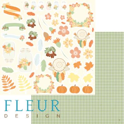 """Лист бумаги """"Картинки"""", коллекция """"Дыхание осени"""" (Fleur design), 30х30 см"""