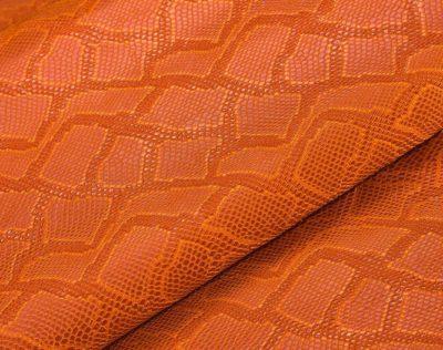 """Кожзам с тиснением """"Под кожу змеи"""", оранжевый, 25*35 см"""