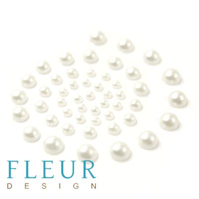 Набор полужемчужин Белые, 1 оттенок, 50 шт (Fleur design)