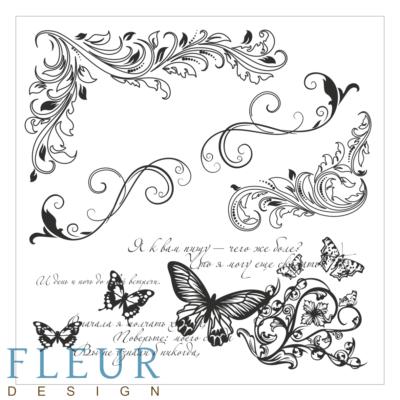"""Набор штампов Завитки и бабочки, коллекция """"Завитки"""", 10,5х10,5 см (Fleur design)"""