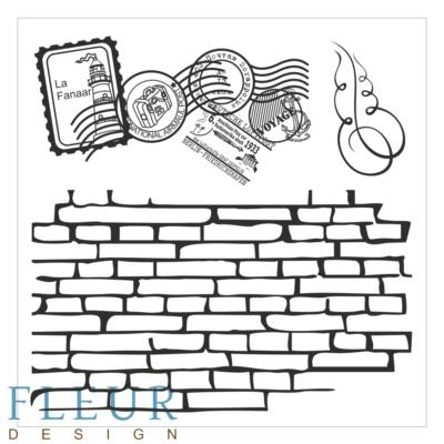 """Набор штампов Стена с марками, коллекция """"Фоновые"""""""", 10,5х10,5 см (Fleur design)"""