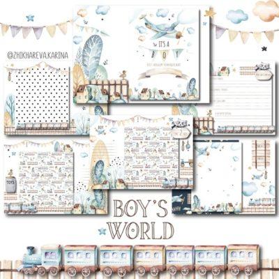 """Печатный блок для альбома (Baby book) """"Boy`s world"""", от 0 до 7 лет, с длинным корешком"""