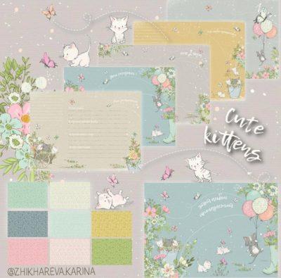 """Печатный блок для альбома (Baby book) """"Cute kittens"""", от 0 до 7 лет, с длинным корешком"""