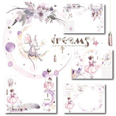 """Печатный блок для альбома (Baby book) """"Dreams for girl"""", от 0 до 7 лет, с длинным корешком"""