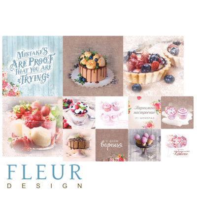 """Набор карточек """"Зефир"""" (Fleur design), 9,5х9,5 + 5х5 см, 12 шт"""