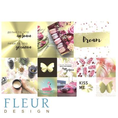 "Набор карточек ""Pretty pink"" (Fleur design), 9,5х9,5 + 5х5 см, 12 шт"