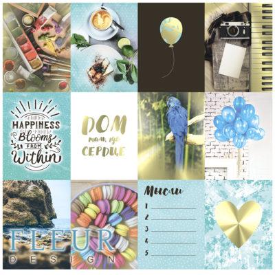 "Набор карточек ""Pretty tiffany"" (Fleur design), 7,5х10 см, 12 шт"