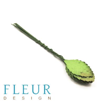Листья розы средние, Зеленые (Fleur design), 3 см, 10 шт