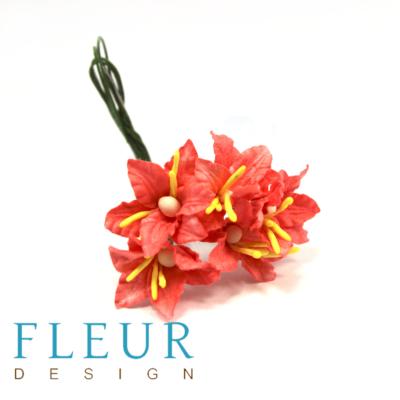 Цветочки Мини-лилии нежно-коралловый (Fleur design), 2,5 см, 5 шт