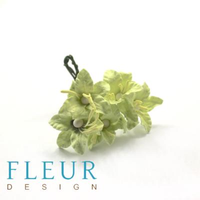 Цветочки Мини-лилии, светло-зеленые (Fleur design), 2,5 см, 5 шт