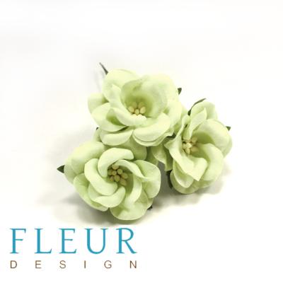 Цветы Дикие Розы светло-зеленые (Fleur design), 4,5 см, 3 шт