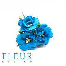 Цветы Дикие Розы бирюзовый (Fleur design), 4,5 см, 3 шт