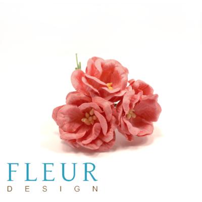 Цветы Магнолии нежно-коралловые (Fleur design), 4 см, 3 шт