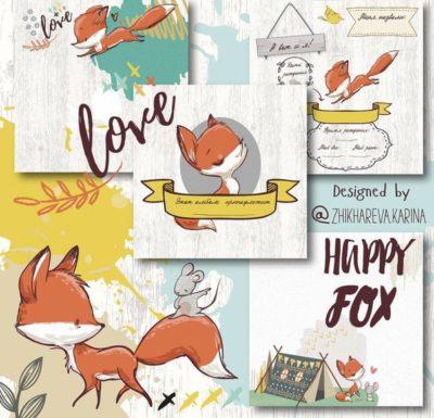"""Печатный блок для альбома (Baby book) """"Happy Fox for girl"""",от 0 до 7 лет, 21х21 см или с длинным корешком"""