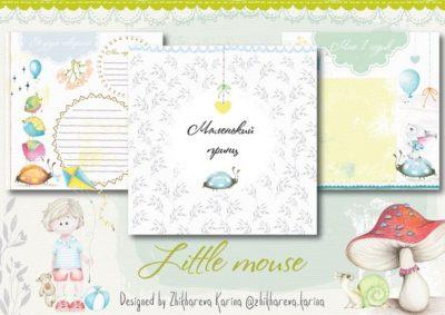 """Печатный блок для альбома (Baby book) """"Little mouse for boy"""", на первый год, 21х21 см"""