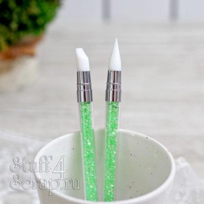 Силиконовая кисть с камушками, двусторонняя, узкая, зеленая