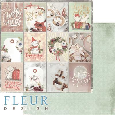 """Лист бумаги """"Пусть идет снег"""", коллекция """"Сладкие праздники"""", 30х30 см (Fleur design)"""
