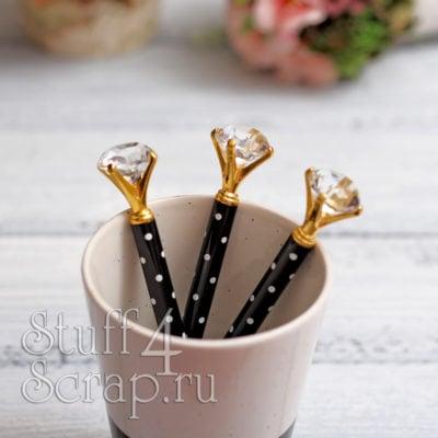 Ручка с кристаллом, черный в горошек с золотом