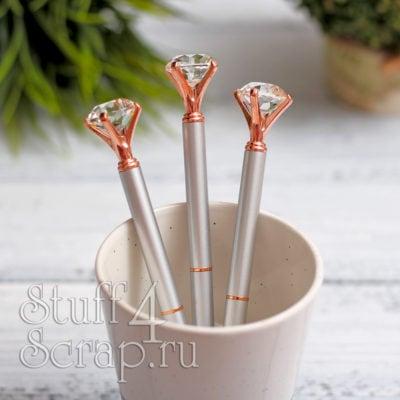 Ручка с кристаллом, матовое серебро и розовым золотом
