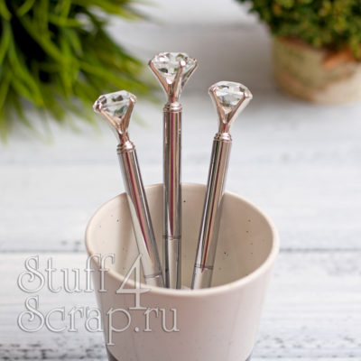 Ручка с кристаллом, серебро