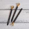 Ручка с кристаллом, черный с золотом