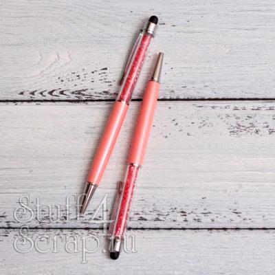 Ручка стилус с камушками, розовый