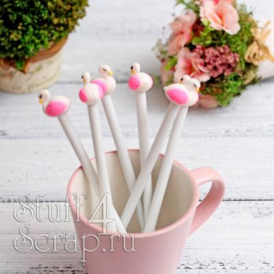 Ручка гелевая с фламинго, белый