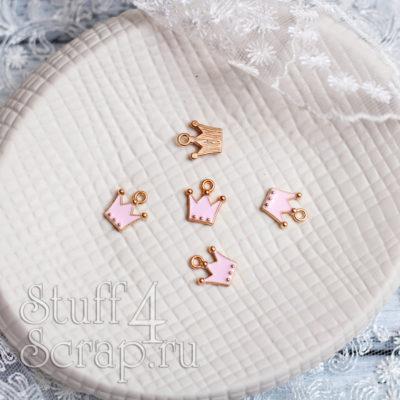 Металлическая подвеска корона, розовая