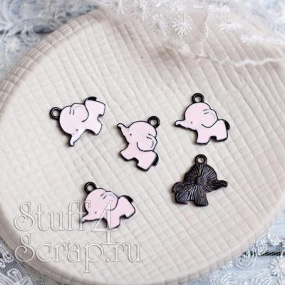 Металлическая подвеска слоник, розовый