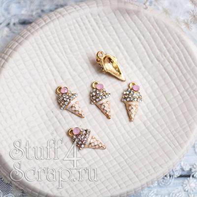 Металлическая подвеска рожок мороженного, светло розовый с кристаллом