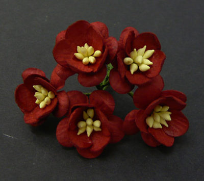 Цветы вишни 2,5 см, темно красный, 5 шт
