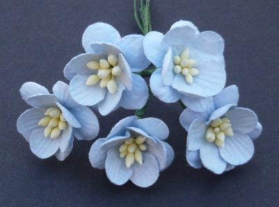 Цветы вишни 2,5 см, голубой, 5 шт