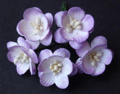 Цветы вишни 2,5 см, тонированный сиреневый, 5 шт