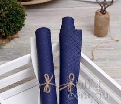 Кожзам «Крестики», тёмно-синий, 45х35 см