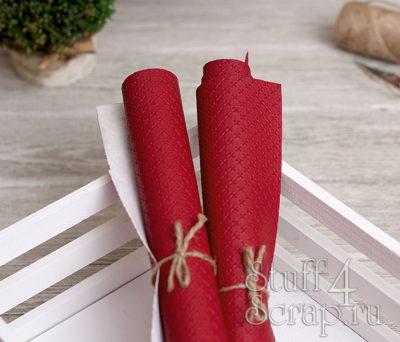 Кожзам «Крестики», тёмно-красный, 45х35 см