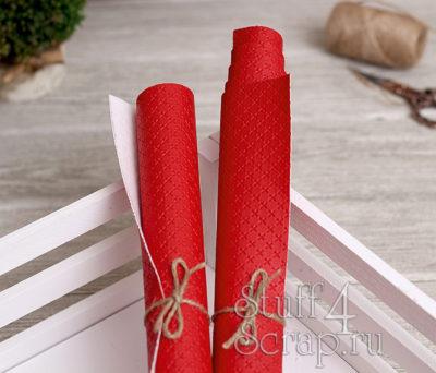 Кожзам «Крестики», ярко-красный, 45х35 см