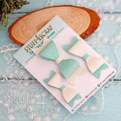 Бантики из кожзама мятный с белым глиттером, 3 шт, 5-7 см