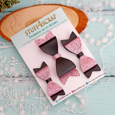 Бантики из кожзама черный с розовым глиттером, 3 шт, 5-7 см