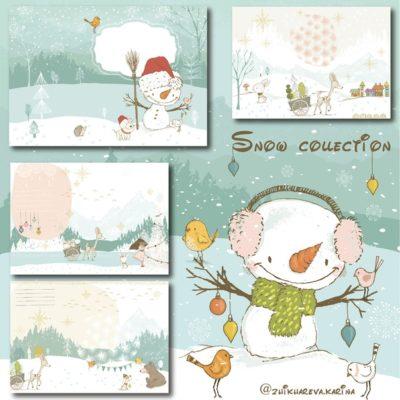 """Печатный блок для альбома """"Snow collection"""", с длинным корешком"""