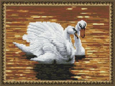 "Алмазная вышивка ""Лебеди на пруду"" 30х40 см, круглые стразы"